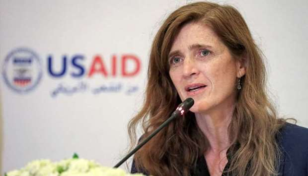 Samantha Power, Administrator of the United States Agency for International Development, speaks at a