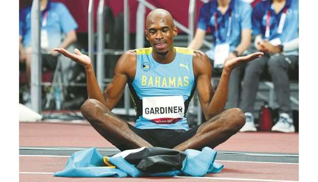 Bahamas' Steven Gardiner celebrates after winning the 400m final during the Tokyo Olympics yesterday