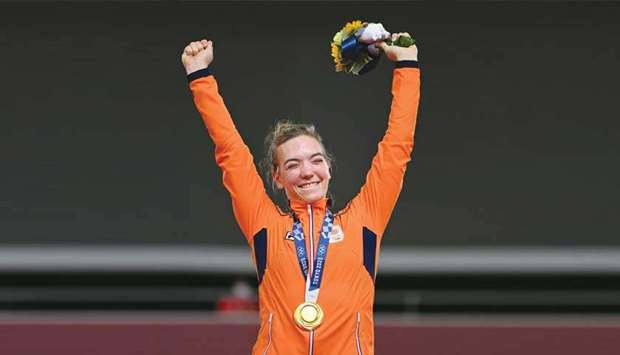 Gold medallist Netherlands' Shanne Braspennincx poses on the podium after winning the track cycling