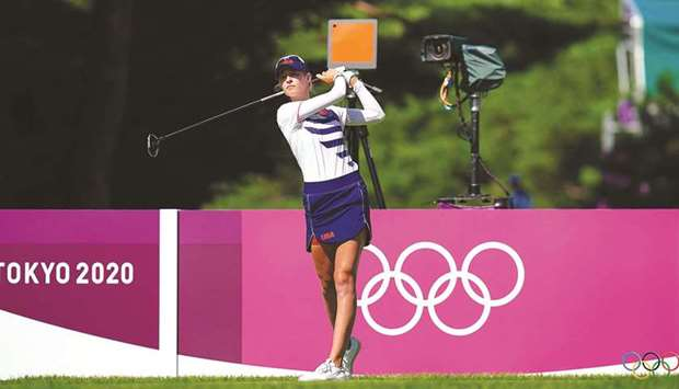 USA's Nelly Korda plays a shot during the second round at the Tokyo Olympics at the Kasumigaseki Cou