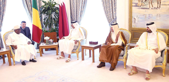 HH the Emir Sheikh Tamim bin Hamad al-Thani holding talks with President Ibrahim Boubacar Keita of M