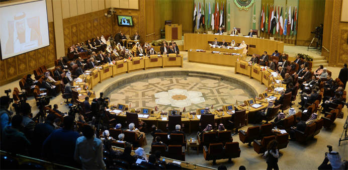 Arab League foreign ministers attending an emergency meeting
