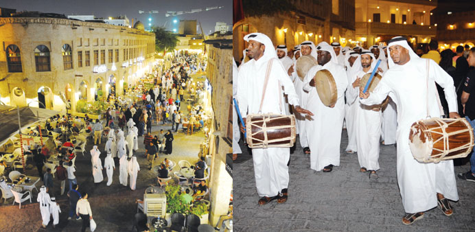 A view of the crowded Souq Waqif alley during the conclusion of the festivities yesterday.A traditio