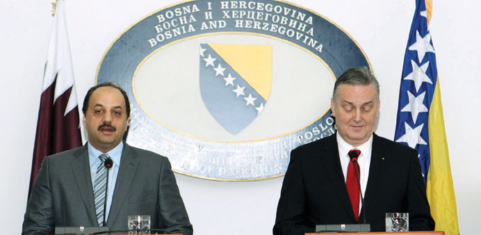 HE al-Attiyah and Bosnia and Herzegovina Foreign Minister Zlatko Lagumdzija addressing a joint press
