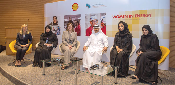 Panellists at the discussion hosted by QU and Qatar Shell to highlight the important role women can