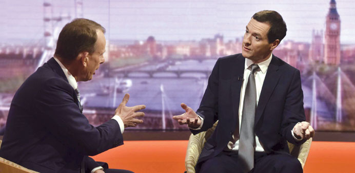 Chancellor of the Exchequer George Osborne speaks on the BBC's Andrew Marr Show in London yesterday.