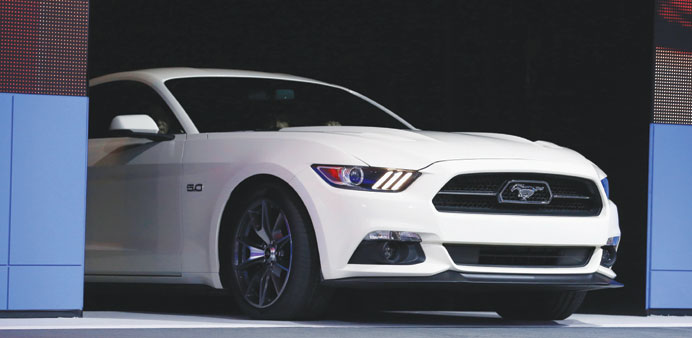 The Mustang GT is seen at the 2014 New York Auto Show. Ford showed off its new Mustang at Asia's