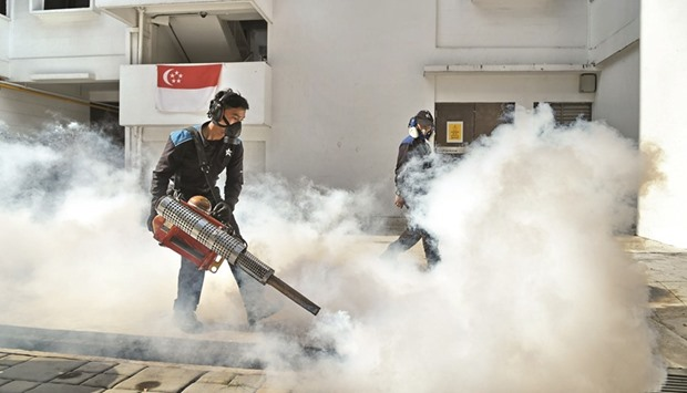 Pest control staff fumigate the drainage at Macpherson neighbourhood housing estate in Singapore yes
