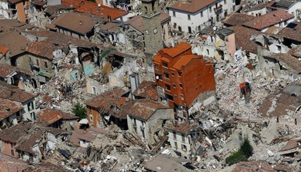 A general view after earthquake that levelled the town in Amatrice