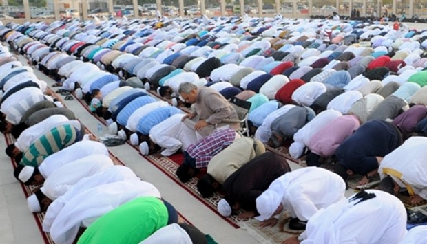 Eid prayers being performed at a designated site in Doha. PICTURE: Ram Chand
