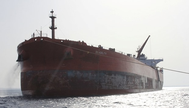 An oil tanker is seen off the coast of the port of Ras Lanuf, Libya