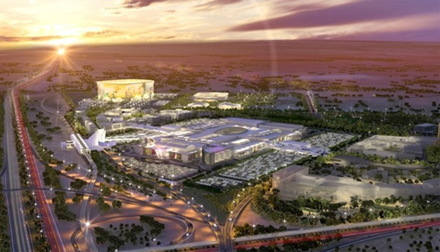 Architect's impression of an aerial view of Mall of Qatar