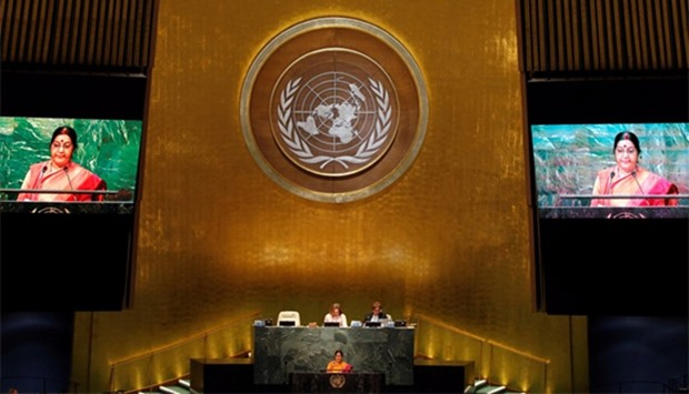India's Minister of External Affairs Sushma Swaraj addresses the United Nations General Assembly