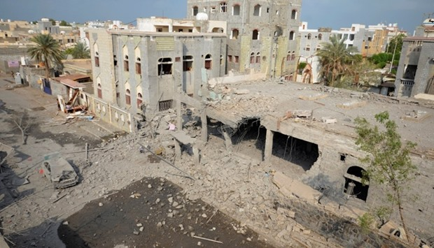 A view of the site of a Saudi-led air strike in the Red Sea port city of Houdieda, Yemen