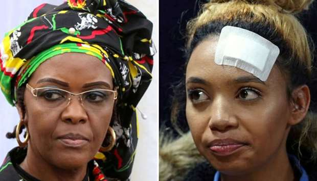 Zimbabwe's volatile first lady Grace Mugabe (L), Gabriella Engels, who claims to have been assaulted