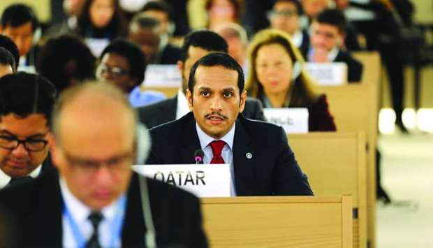 HE the Foreign Minister Sheikh Mohamed bin Abdulrahman al-Thani addressing the 36th Session of the H