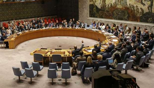 Members of the UN Security Council vote at a UN Security Council meeting over North Korea's new sanc