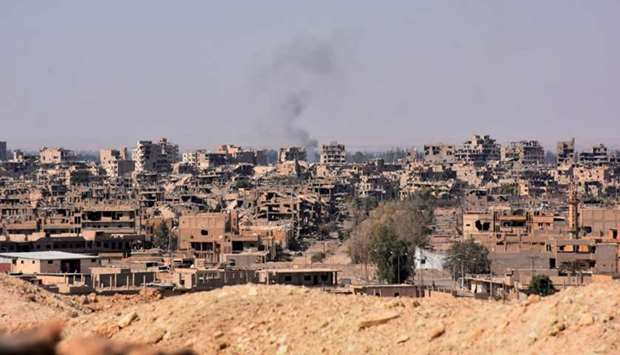 A general view of the eastern Syrian city of Deir Ezzor on September 11, 2017