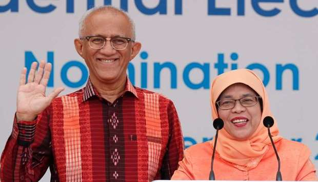 Singapore's President-elect Halimah Yacob and her husband Mohammed Abdullah Alhabshee