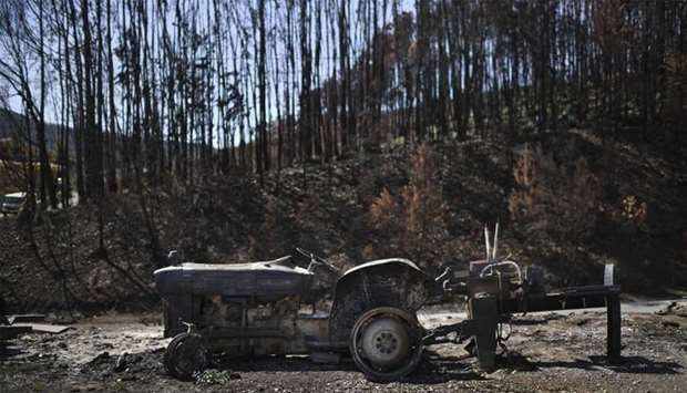 Wreckage of a charred tractor is pictured in front of a burnt forest in Castanheira de Pera