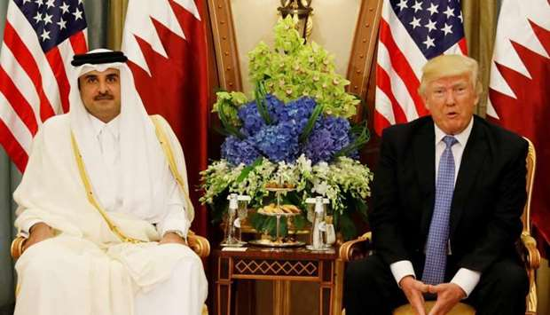 HH the Emir Sheikh Tamim bin Hamad al-Thani with US President Donald Trump (file picture)