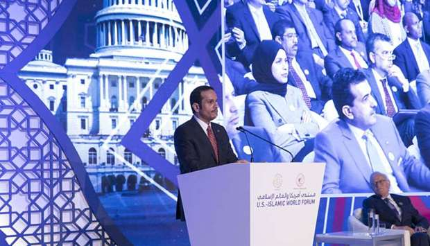 HE the Foreign Minister Sheikh Mohamed bin Abdulrahman al-Thani  delivers the keynote speech at the