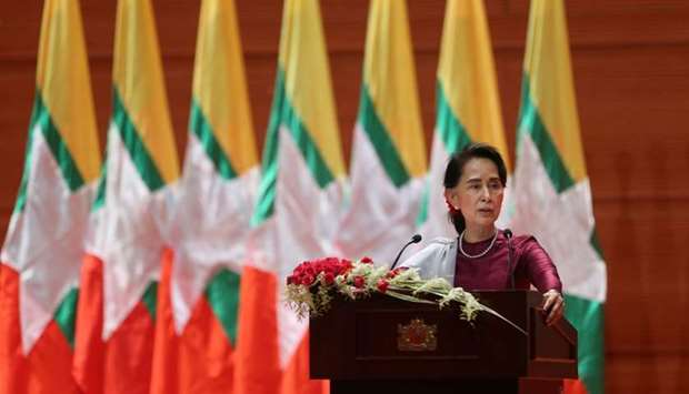 Myanmar's State Counsellor Aung San Suu Kyi delivers a national address in Naypyidaw