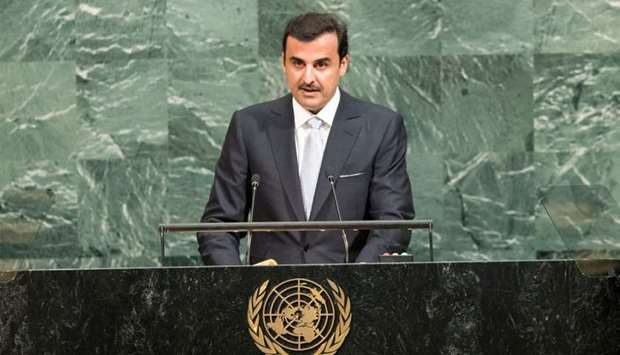 Emir participates in opening session of UN General Assembly