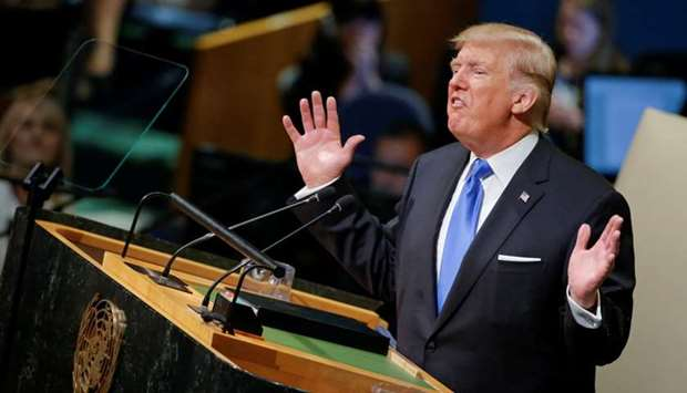 US President Donald Trump addresses the 72nd United Nations General Assembly at UN headquarters in N