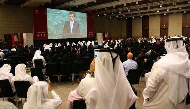 Audience watching live telecast of His Highness the Emir Sheikh Tamim bin Hamad al-Thani's speech