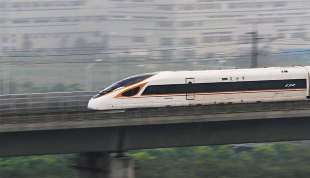 "The ""Fuxing"" bullet train rans on the Beijing-Shanghai Railway"