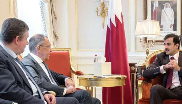 HH the Emir with Russian Foreign Minister Sergei Lavrov and his accompanying delegation