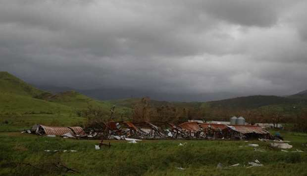 A damaged farm is seen after the area was hit by Hurricane Maria in Salinas, Puerto Rico