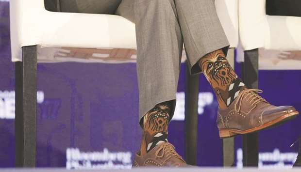 Trudeau's Chewbacca socks are seen during his participation in a panel  discussion at a Bloomberg Global Business Forum event in New York on  Wednesday. - Trudeau Triggers 'spat' With Chewbacca Socks