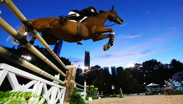 Sydney Shulman is up on Curby Du Seigner competing during the Rolex Central Park Horse Show