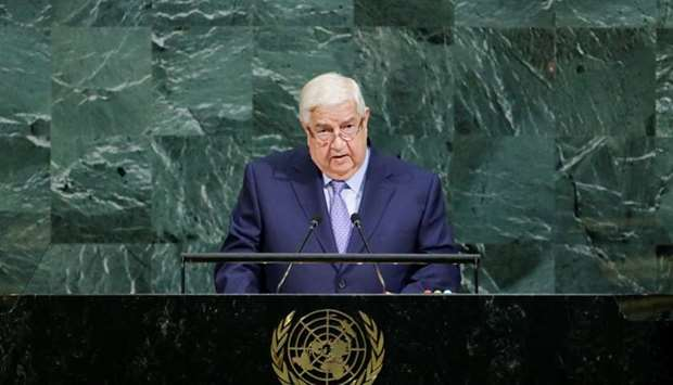 Deputy Prime Minister for Syrian Arab Republic Walid al-Muallem addresses the 72nd United Nations Ge