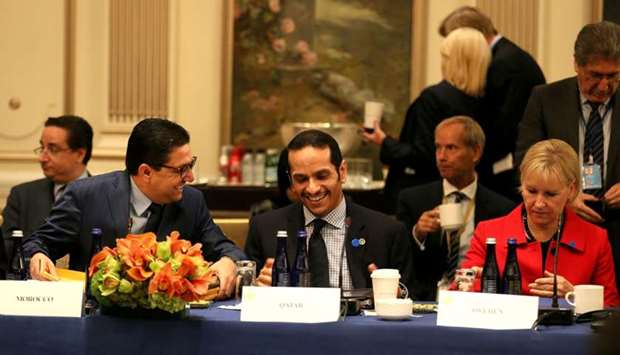 Foreign Minister HE Sheikh Mohamed bin Abdulrahman al-Thani attends a meeting on in Iraq in New York