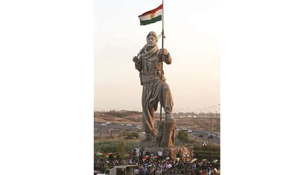Newly unveiled statue pays tribute to the Peshmerga, Iraqi Kurdistan's main fighting forces in Kirku
