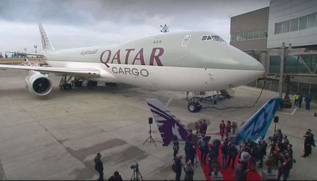 The Boeing 747-8 freighter adorned with Qatar Airways livery displayed during the delivery ceremony
