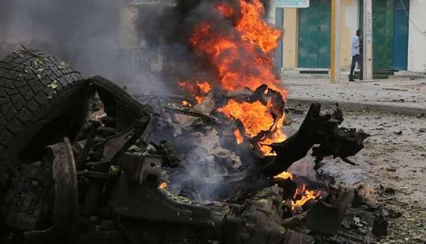 The scene of an explosion in Mogadishu