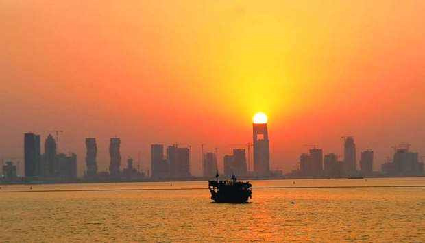 A stunning sunset view on a dhow cruise to Qatar's Al Aliyah Island.