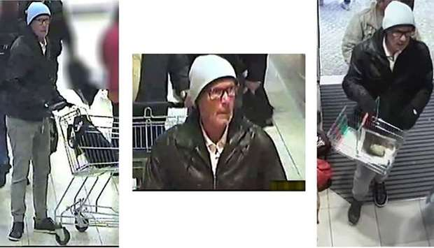 Surveillance video grabs by the police show a man suspected of blackmailing shops in Germany
