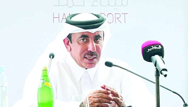 HE the Minister of Transport and Communications Jassim Seif Ahmed al-Sulaiti engages with the media