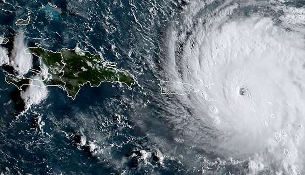 This satellite image from NOAA shows Huricane Irma