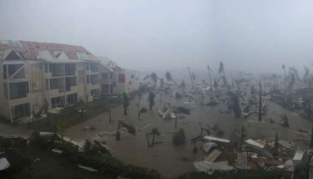 Hotel Mercure in Marigot, near the Bay of Nettle during the passage of Hurricane Irma