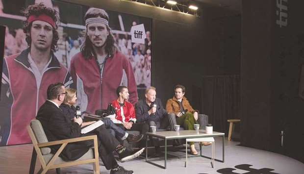 Actors Shia LaBeouf, Stellan Skarsgard and Sverrir Gudnason attend a question-and-answer session on