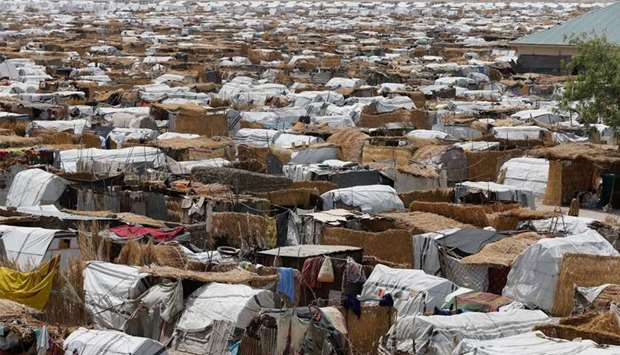Huts and sheds are seen at the Ngala internally displaced persons  camp in Nigeria