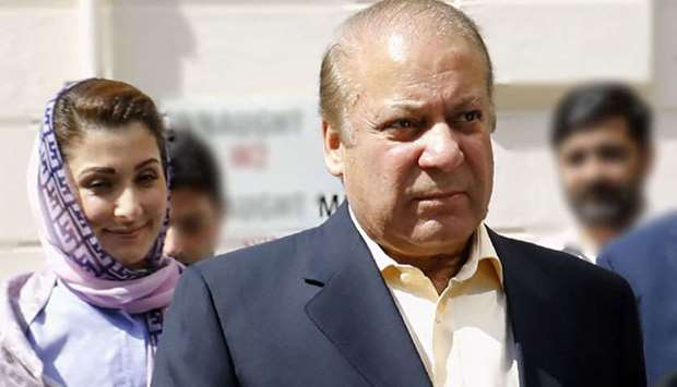 Former prime minister Nawaz Sharif and his daughter Maryam Nawaz