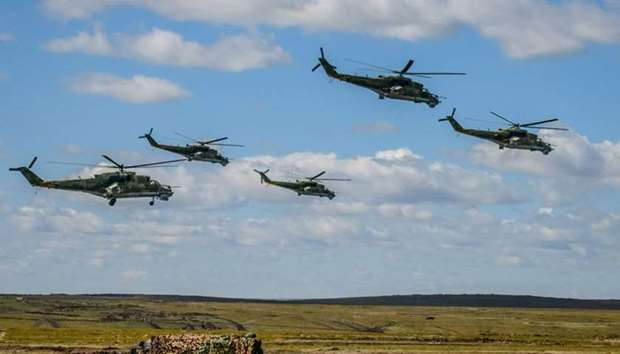 Russian military helicopters participate in the Vostok-2018 military drills