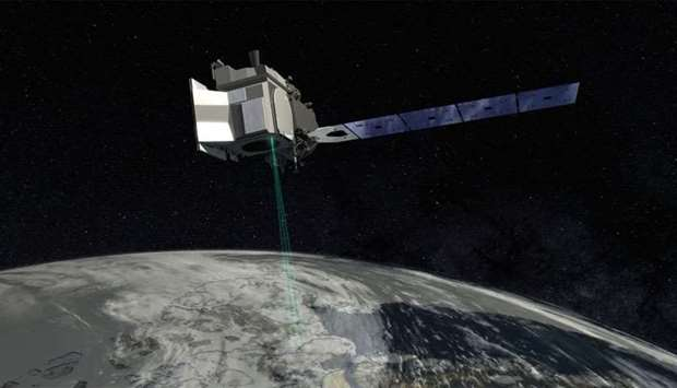 Artist concept from NASA's Goddard Space Flight Center depicts ICESat-2, and how the spacecraft will